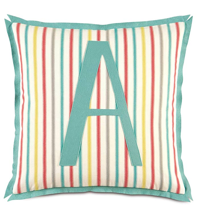 AFTON SHERBERT WITH MONOGRAM - GIRLS ROOM MONOGRAMMED PILLOW,KIDS MONOGRAMMED PILLOW,MONOGRAMMED COLORFUL PILLOW,STRIPED PILLOW,CANDY STRIPE,MONOGRAMMED ACCENT PILLOW,RAINBOW,FEMININE,TWEEN,GIRLS,