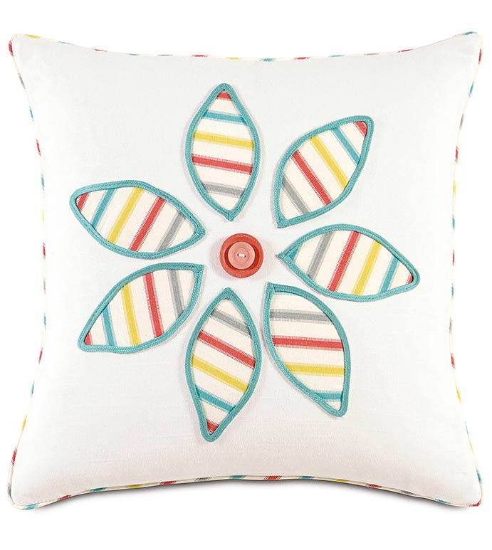 AFTON SHERBERT FLOWER - WHITE GIRLS ROOM PILLOW,RAINBOW COLOR PILLOW,FLOWER DESIGN,PINWHEEL FLOWER,BUTTON,COLORFUL GIRLS ROOM PILLOW,FEMININE,FUNKY,FLORAL,WHITE AND BLUE,PASTEL COLOR,TWEEN ROOM BEDDING
