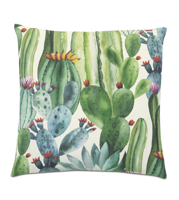 AGAVE CACTUS DECORATIVE PILLOW - WATERCOLOR,PAINTERLY,ARTSY,CACTUS,SUCCULENT,DESERT,SOUTHWESTERN,DESIGNER,PILLOW,ACCENT PILLOW,THROW PILLOW,DECORATIVE PILLOW,FUN,QUIRKY,CHIC,20X20,SQUARE