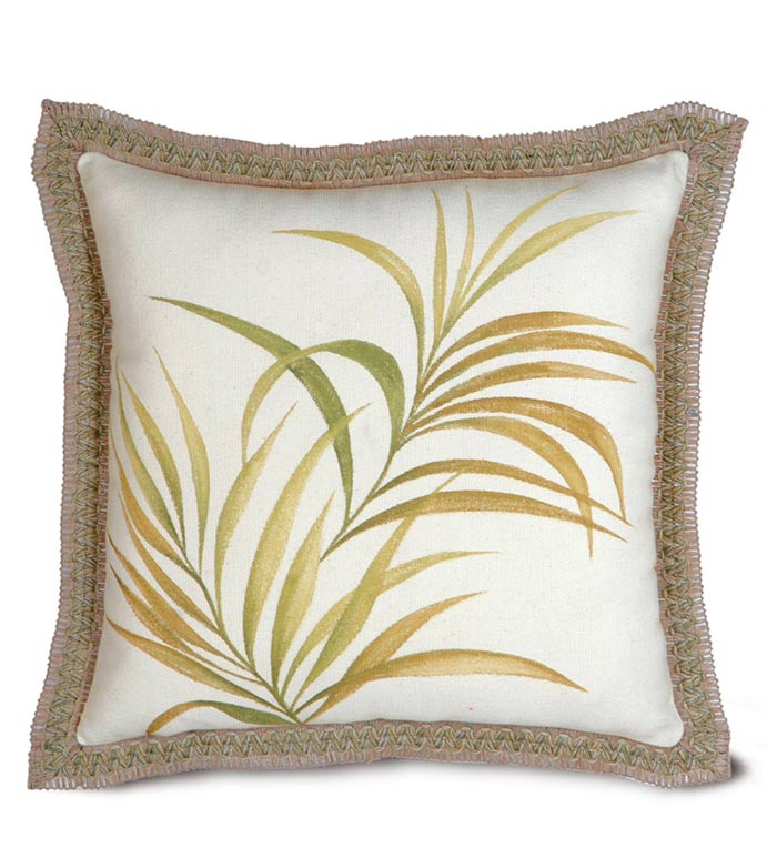 ANTIGUA HAND-PAINTED - HAND PAINTED PILLOW,GRASS,PALM TREE,FOLIAGE,EARTH TONE,ISLAND HOUSE,COASTAL PILLOW,LAKE,GREEN,YELLOW,TAN,TAN AND GREEN,OUTDOORS,BOTANICAL PILLOW,TROPICAL PILLOW,PAINTED PILLOW