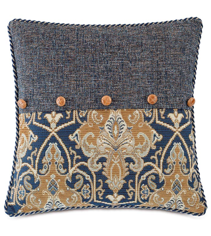 Arthur Ochre WITH Rosenthal Dusk - NAVY PAISLEY PILLOW,ENVELOPE PILLOW,BLUE ENVELOPE PILLOW,NAVY PAISLEY PILLOW,ACCENT BUTTON,MASCULINE PILLOW,MENS ROOM BEDDING,BLUE AND GOLD,TRADITIONAL,CLASSIC PAISLEY PILLOW