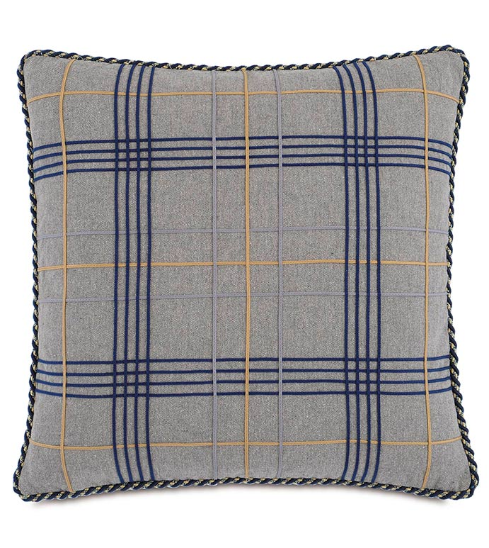 Brigid Stone WITH lace trim - GREY PLAID PILLOW,BLUE PLAID PILLOW,LARGE PLAID DESIGN,GRAY AND NAVY PLAID,TEXTURED,MENS BEDROOM,CLASSIC,TRADITIONAL,MASCULINE,NEUTRAL,OXFORD STYLE,PLAID DECORATIVE PILLOW,GRAY