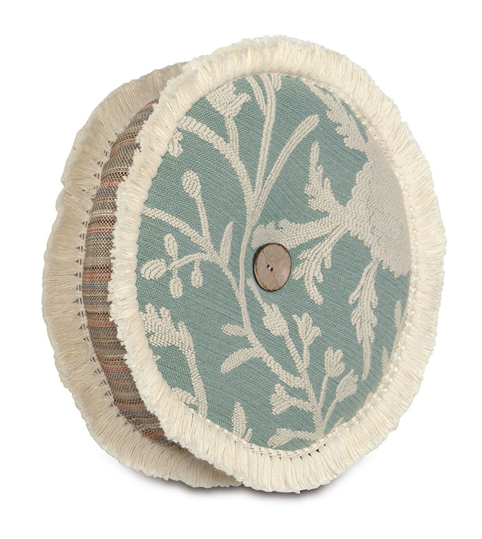 AVILA TAMBOURINE - TAMBOURINE PILLOW,ROUND PILLOW,BUTTON TUFTED PILLOW,CENTER TUFTED PILLOW,BOHEMIAN DECORATIVE PILLOW,EARTH TONE,NATURAL,BLUE AND BROWN,FRINGE TRIM PILLOW,BOHO CHIC ACCENT PILLOW