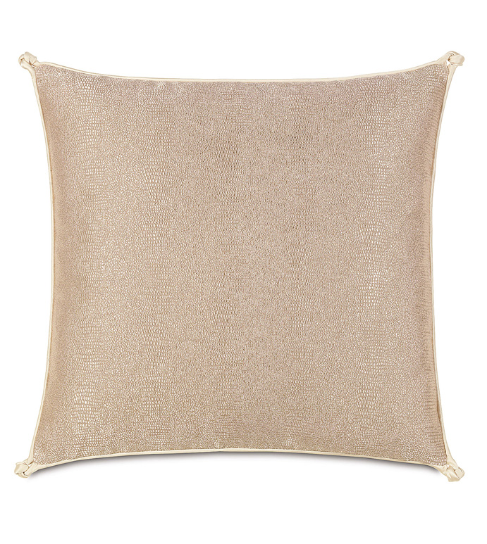 Dunaway Fawn With Turkish Knots - GLAM,SHINY,PATTERN,TAN,GLAMOUR,METALLIC,SNAKESKIN,ELEGANT,OPULENT,FEMININE,GOLD,LUXURY,CHAMPAGNE,PILLOW,DECORATIVE,HOME DECOR,BEIGE,LUXURY BEDDING,CORD,SQUARE,KNOT,ANIMAL PRINT