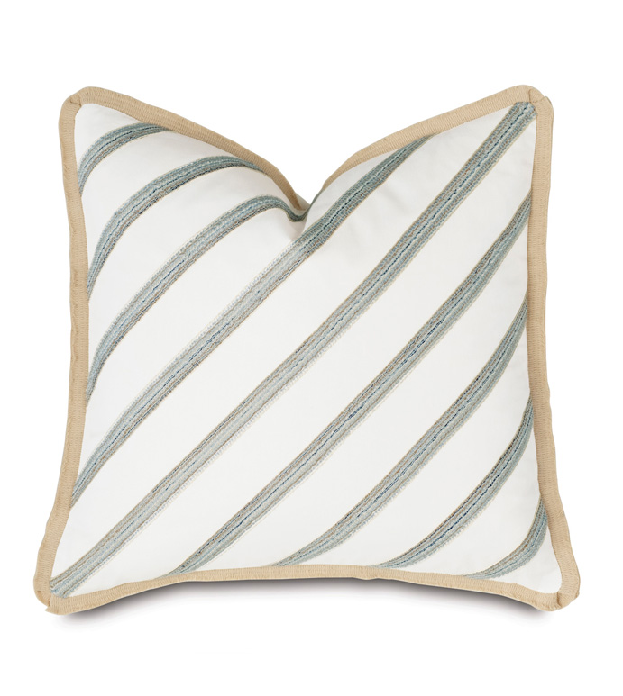 Brentwood Diagonal Trim Decorative Pillow - BARCLAY BUTERA,LUXURY BEDDING,BEDDING,PILLOW,THROW PILLOW,ACCENT PILLOW,DECORATIVE PILLOW,JUTE,PLEATED,TRIM,DIAGONAL,COTTON,20X20