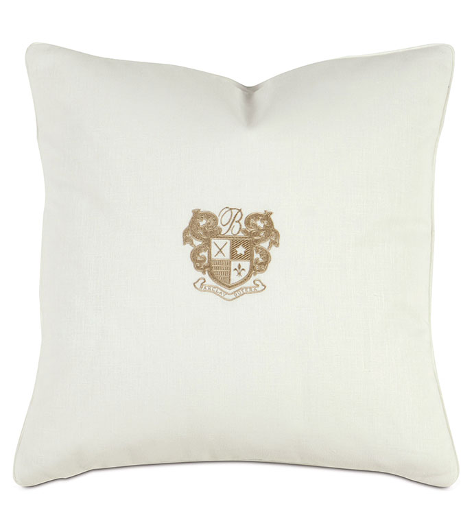 Bel Air Embroidered Decorative Pillow in Bisque - ,