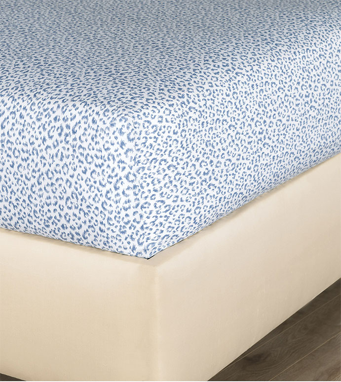 Tanner Indigo Fitted Sheet - HAMPTON