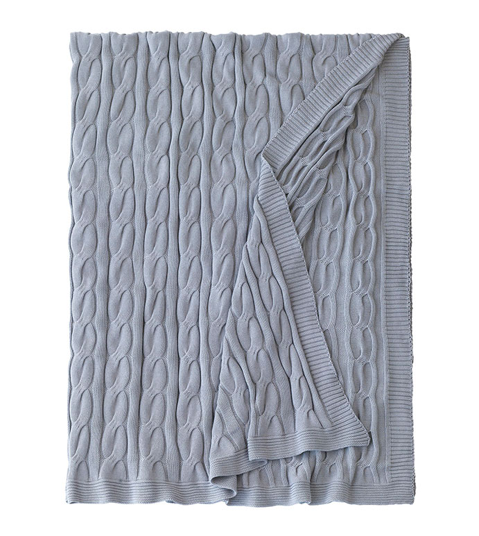 Avalon Cableknit Throw in Slate