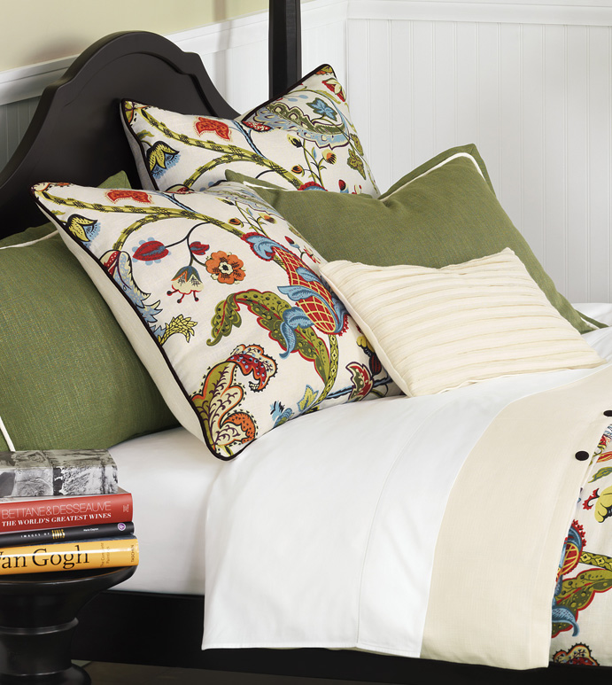 BAYLISS Bedset (OPTION A) - BOTANICAL PRINT,FLOWERS,LEAFS,DUVET,SHAMS,NEUTRAL,EARTH TONES,PATTERNED,WHITE,RED,BLUE,GREEN,YELLOW,ORANGE,BEACH HOUSE,DECORATIVE PILLOW,BEDROOM,SELF WELT,FLANGE