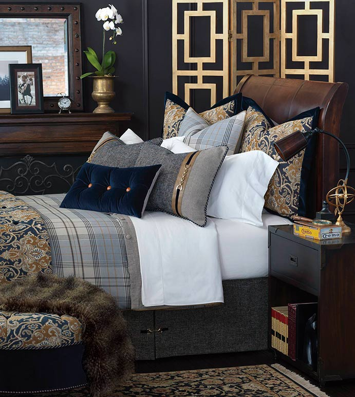 Arthur Bedset - TRADITIONAL MASCULINE BEDDING,HANDSOME BEDDING SET,OXFORD STYLE BEDDING SET,PLAID BEDSET,NAVY PAISLEY BEDSET,CLASSIC,TRADITIONAL,BLUE AND TAN,NAVY AND GOLD,BLUE VELVET,OXFORD