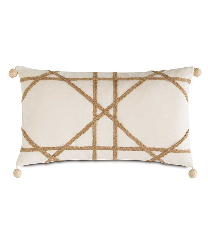 Adler Natural With Gimp - WOVEN TRIM PILLOW,MACRAME PILLOW,HEMP ACCENT PILLOW,IVORY AND TAN,NEUTRAL TROPICAL PILLOW,TROPICAL FEMININE,BEACH HOUSE,LAKE HOUSE,CONTEMPORARY,CASUAL,TEXTURED,GEOMETRIC