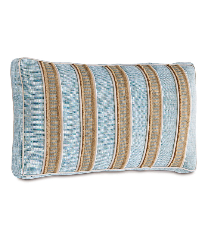 Draper Lake boxed - STRIPED BOX PILLOW,STRIPED TROPICAL PILLOW,STRIPED COASTAL PILLOW,COASTAL FEMININE PILLOW,CASUAL COASTAL,CONTEMPORARY,BLUE AND TAN,BLUE AND IVORY,TEXTURED,MACRAME,HEMP TRIM