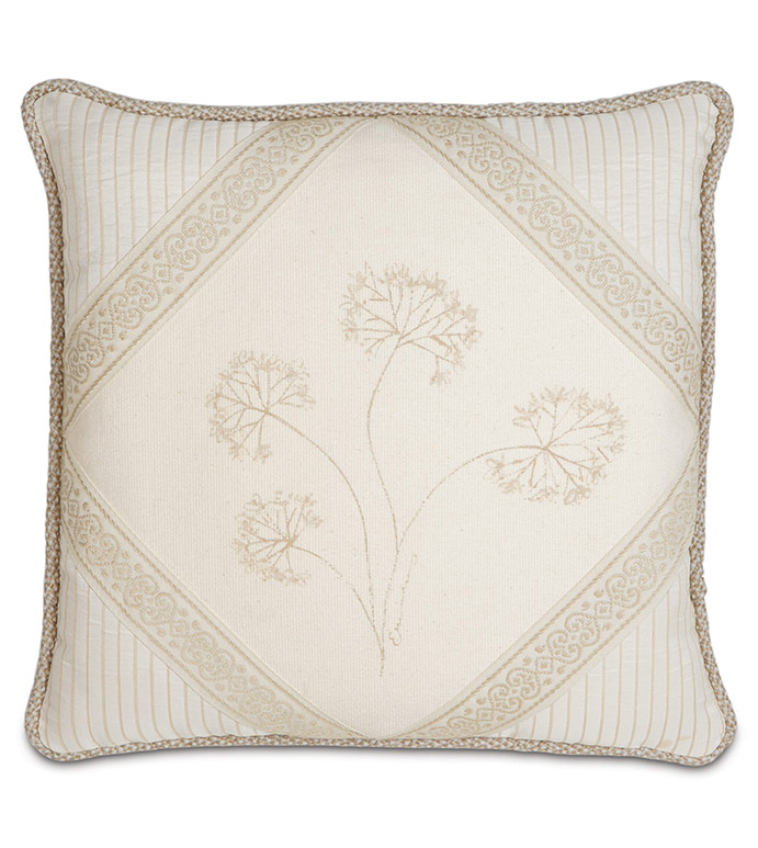 HAND-PAINTED BROOKFIELD DIAMOND - HAND PAINTED BOTANICAL PILLOW,HAND PAINTED FLOWER PILLOW,ENGLISH GARDEN PILLOW,NEUTRAL VICTORIAN PILLOW,TAN AND IVORY,CREAM,BEIGE,NEUTRAL TRADITIONAL PILLOW,ELEGANT IVORY,DIAMOND