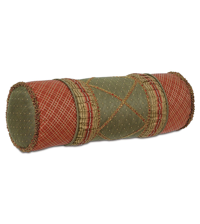 QUENTIN OLIVE INSERT BOLSTER - red and gold traditional pillow,red and gold neckroll pillow,victorian neckroll,victorian bolster,red and green,olive green,collage pillow,ruched pillow,brush fringe,ornamented