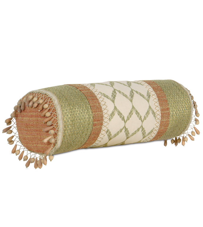 BARTOW PALM INSERT BOLSTER - tropical bolster,beach style bolster,natural color,earth tone,muted color,casual tropical,wood bead,beach house style,tropical neckroll,collage pillow,lake house,beaded,cabana