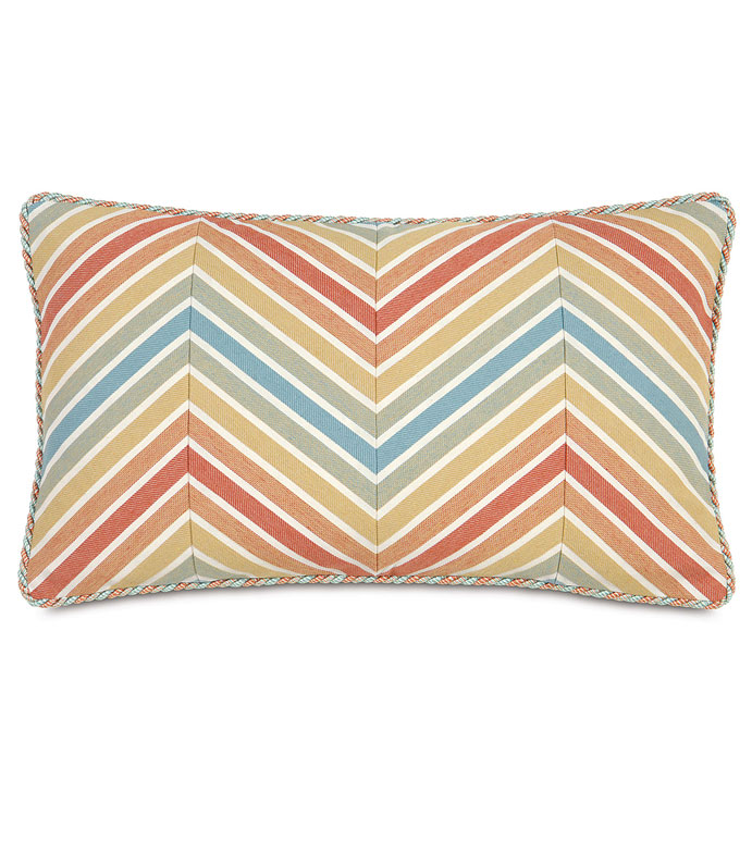 PARADISE SUNRISE BOLSTER - COLORFUL CHEVRON PILLOW,BRIGHT CHEVRON BOLSTER,RAINBOW STRIPE PILLOW,COLORFUL TROPICAL PILLOW,CHEVRON ACCENT PILLOW,CONTEMPORARY,RESORT BEDDING,BEACH STYLE BEDDING,ISLAND HOME