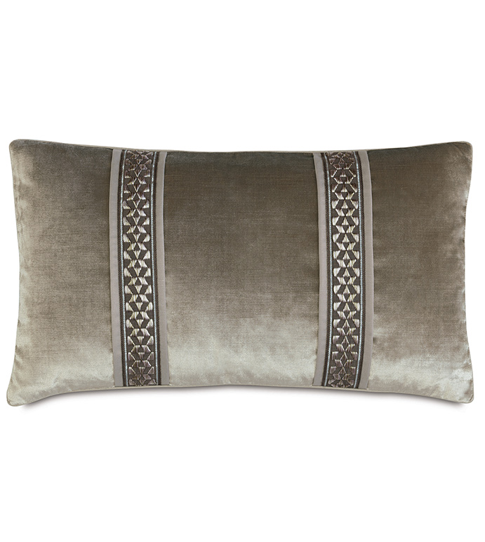 Velda Smoke Bolster - VELVET,VELOUR,GREY,TRIM,SHINY,STRIPE,METALLIC,WELT,RECTANGLE,BOLSTER,GLAM,OPULENT,THROW PILLOW,GRAY,SILVER,PATTERNED,CONTEMPORARY,BEDDING,LUXURY BEDDING,HOME DECOR,PILLOW,BEDROOM