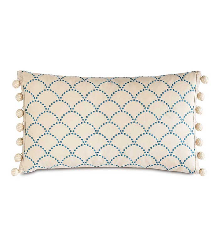 Brooklyn Lapis Bolster - EMBROIDERED BLUE BOLSTER,BLUE AND WHITE,BLUE AND IVORY,FEMININE COASTAL PILLOW,TROPICAL ACCENT PILLOW,BOLSTER WITH BALL TRIM,HEMP TRIM,COASTAL,LAKE HOUSE,BEACH HOUSE,CASUAL