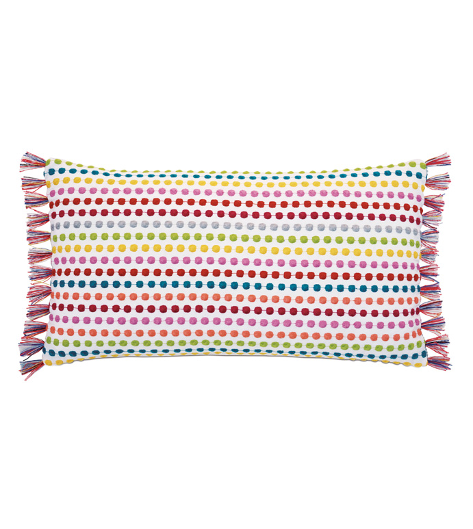 Paloma Embroidered Bolster Pillow - ACCENT PILLOW,THROW PILLOW,BOLSTER,PILLOW,EASTERN ACCENTS,MULTICOLORED,EMBROIDERED,POLKA-DOT,BRUSH FRINGE,RAINBOW,GIRLS,KIDS,CHILDRENS,BEDDING,LUXURY,FUN,