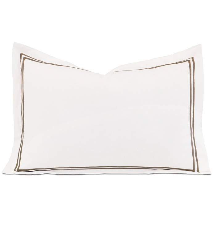 ENZO WHITE/BROWN BOUDOIR SHAM - ,