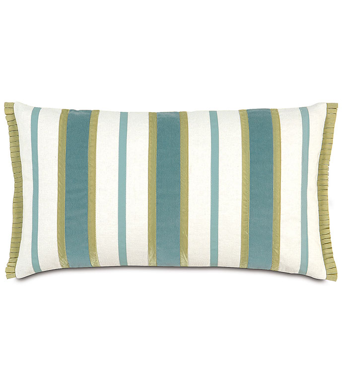 JACKSON OCEAN INSERTS - blue and green striped pillow,blue and white,blue and green,white and green striped pillow,vertical striped pillow,trim stripes,feminine,casual contemporary,blue velvet,pleated