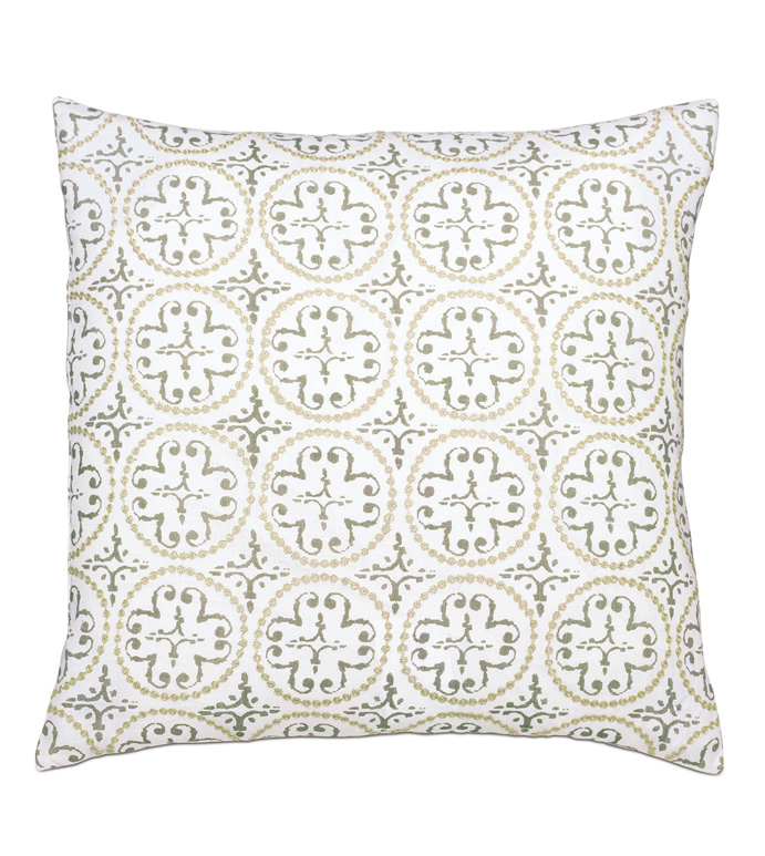 Lightcap Medallion Decorative Pillow in Oatmeal - EMBROIDERED,MEDALLION,METALLIC,GOLD,NEUTRAL,CREAM,BEIGE,WHITE,WEATHERED,FADED,EXOTIC,GLOBAL,PRINT,PATTERN,REVERSIBLE,LUXURY,PILLOW,THROW PILLOW,DECORATIVE PILLOW,ACCENT PILLOW,BOHO