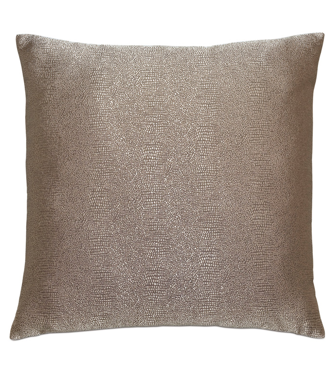 Dunaway Metallic Decorative Pillow in Umber - SHAGREEN,SHARK SKIN,FAUX LEATHER,FAUX HIDE,FAUX RAWHIDE,PATTERN,WOVEN,METALLIC,SHINY,LUSTROUS,TAUPE,NEUTRAL,REVERSIBLE,PILLOW,THROW PILLOW,DECORATIVE PILLOW,ACCENT PILLOW,LUXURY,