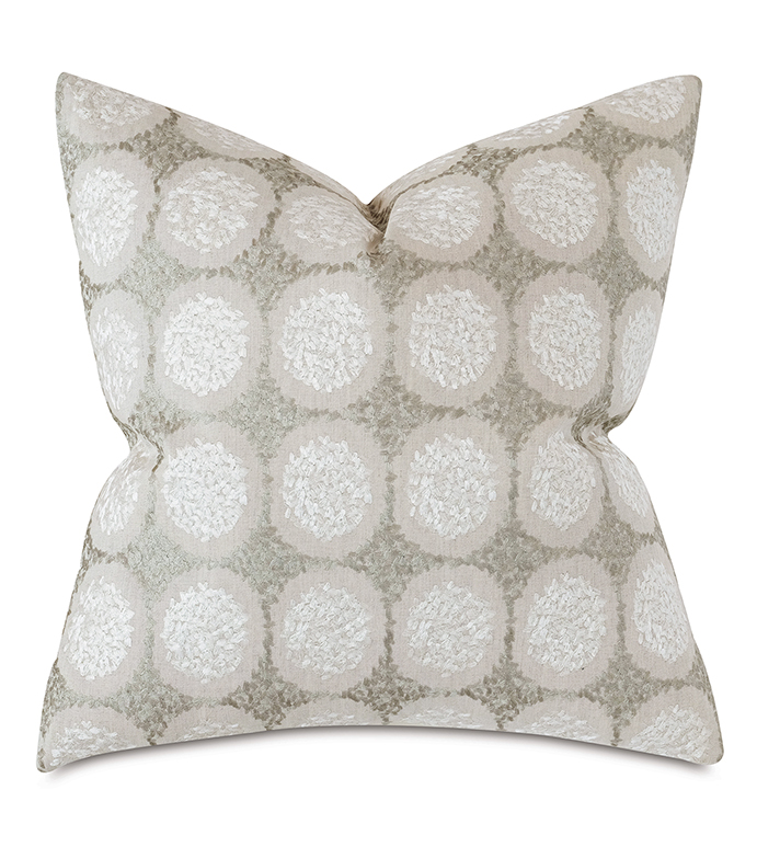 Dodie Embroidered Decorative Pillow in Pebble - METALLIC,SILVER,SHINY,EMBROIDERED,TEXTURED,CIRCLE,POLKA-DOT,GEOMETRIC,PATTERN,OMBRE,GRADIENT,NEUTRAL,PILLOW,THROW PILLOW,DECORATIVE PILLOW,ACCENT PILLOW,LUXURY,EASTERN ACCENTS,CHIC