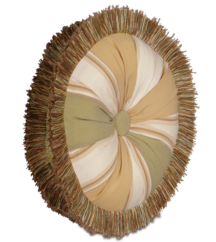 DORAL MEADOW TAMBOURINE - tambourine pillow with brush fringe,green and orange pillow,button tufted pillow,deep tufted pillow,round accent pillow,striped,cabana pillow,beach style pillow,tropical pillow