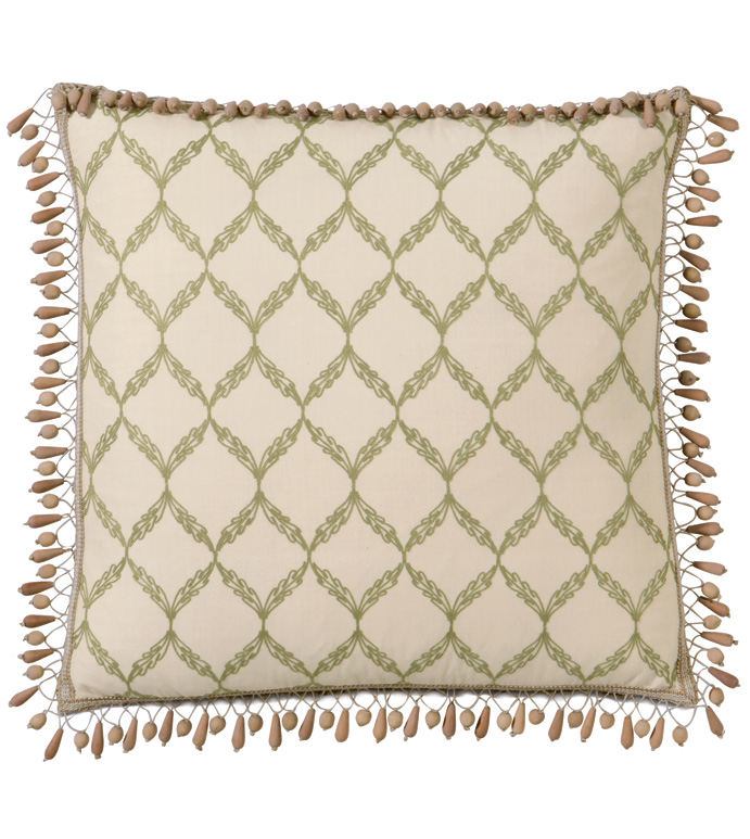 BARTOW PALM WITH BEADED TRIM - WOOD BEADED PILLOW,BEADED FRINGE PILLOW,TROPICAL PILLOW,BEACH STYLE PILLOW,CABANA PILLOW,GREEN AND TAN PILLOW,CASUAL TROPICAL,CONTEMPORARY,LATTICE PRINT,EARTH TONE,NEUTRAL,MUTED