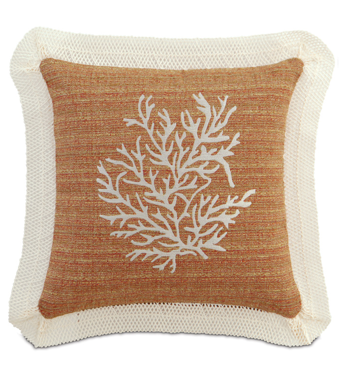 EMBROIDERED CORAL - EMBROIDERED CORAL PILLOW,EMBROIDERED TROPICAL PILLOW,BOTANICAL PILLOW,UNDER THE SEA,CASUAL TROPICAL,CONTEMPORARY,EARTH TONE,BURNT SIENNA,FISH NET,BEACH STYLE,ORANGE AND WHITE