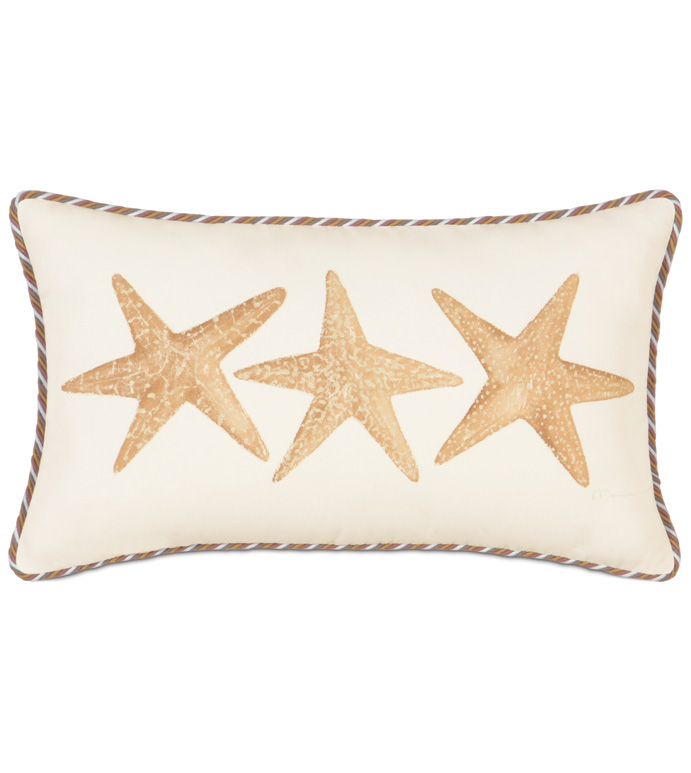 HAND-PAINTED STARFISH - STARFISH PILLOW,HAND PAINTED TROPICAL PILLOW,HAND PAINTED OCEAN PILLOW,CASUAL TROPICAL,CONTEMPORARY,HAND PAINTED STARFISH,TAN AND GOLD,EARTH TONE,NEUTRAL,IVORY,BEACH STYLE,OCEAN