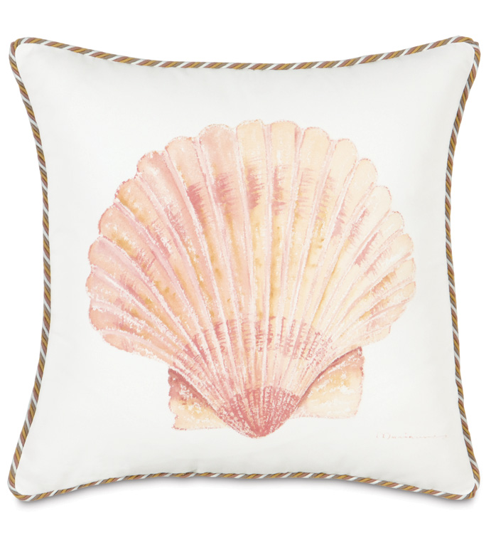 HAND-PAINTED SCALLOP SHELL - HAND PAINTED SHELL PILLOW,SCALLOP SHELL PILLOW,HAND PAINTED OCEAN PILLOW,HAND PAINTED BEACH PILLOW,NEUTRAL,CASUAL TROPICAL,WHITE AND TAN,SEASHELL PILLOW,BEACH STYLE,ISLAND,TROPICS