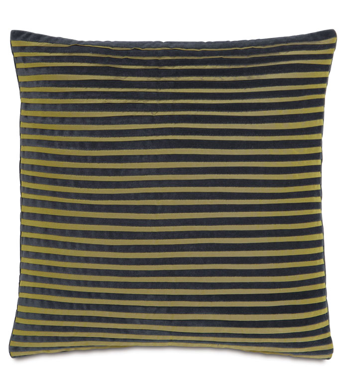 JACKSON CHARCOAL WITH PLEATS - GREEN AND BLACK PILLOW,PLEATED PILLOW,PINTUCKS,GREEN AND BLACK STRIPED,CHARTREUSE,DARK GRAY VELVET PILLOW,SLATE,GRAY,GLAM,URBAN STYLE PILLOW,CONTEMPORARY,GLAM,FUNKY,ECLECTIC,GREEN