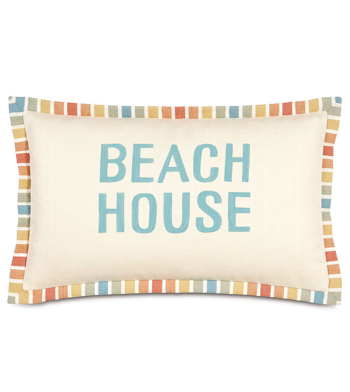 FOLLY PARCHMENT HAND-PAINTED - BEACH HOUSE PILLOW,PAINTED BEACH HOUSE PILLOW,HAND PAINTED PILLOW,HAND PAINTED TROPICAL PILLOW,BRIGHT TROPICAL,CONTEMPORARY,CASUAL TROPICAL,BEACH STYLE,RESORT,BRIGHT COLORFUL