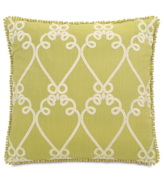 Etta Lime With Loop Gimp - GREEN AND WHITE DECORATIVE PILLOW,LIME GREEN PILLOW,GREEN AND WHITE,CHARTREUSE,EMBROIDERED WHITE PILLOW,BRIGHT FEMININE PILLOW,CONTEMPORARY,ECLECTIC PILLOW,FRINGE EDGE,LIGHT GREEN