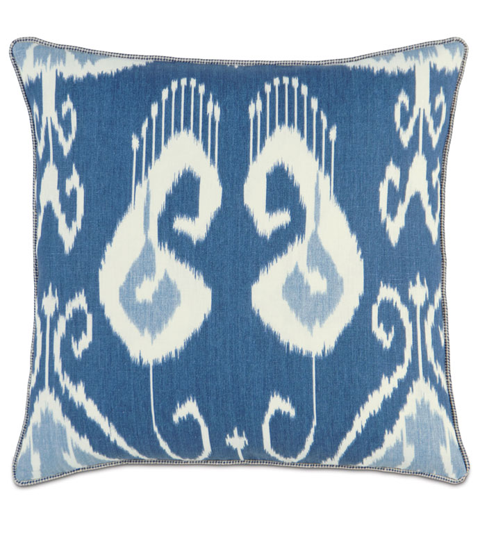 CEYLON WITH CORD - IKAT PILLOW,BLUE IKAT PILLOW,BLUE AND WHITE,WHITE AND BLUE,BLUE TIE DYED PILLOW,TROPICAL BLUE PILLOW,COASTAL,BEACH STYLE,CONTEMPORARY,SQAURE IKAT PILLOW,BEACH HOUSE,CORD EDGE,OCEAN