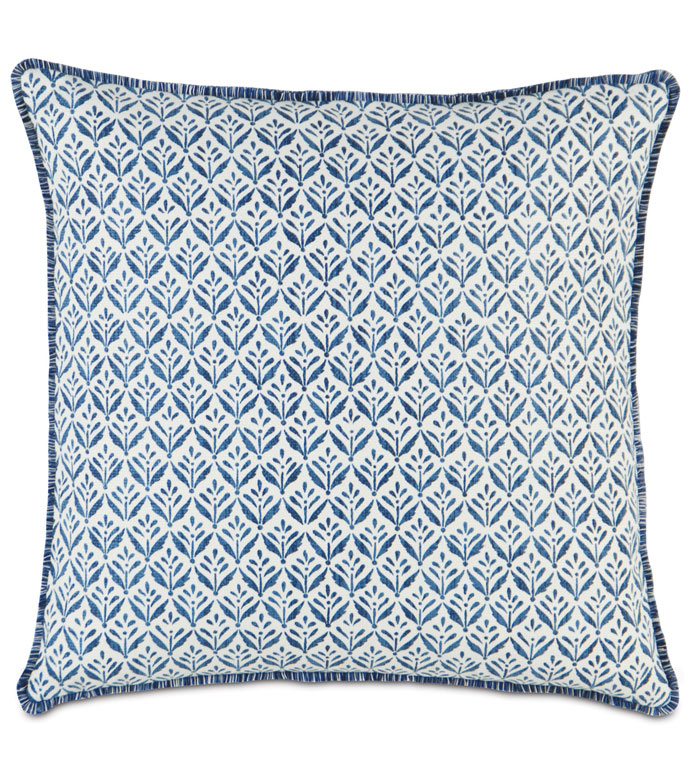 KARI IRIS WITH BRUSH FRINGE - BLUE TROPICAL PILLOW,BLUE IKAT PILLOW,BOTANICAL,PRINTED,BLUE AND WHITE PILLOW,SQAURE BLUE PILLOW,CONTEMPORARY,TROPICAL,COASTAL,CASUAL,BRUSH FRINGE EDGE,WHITE AND BLUE,NATURAL