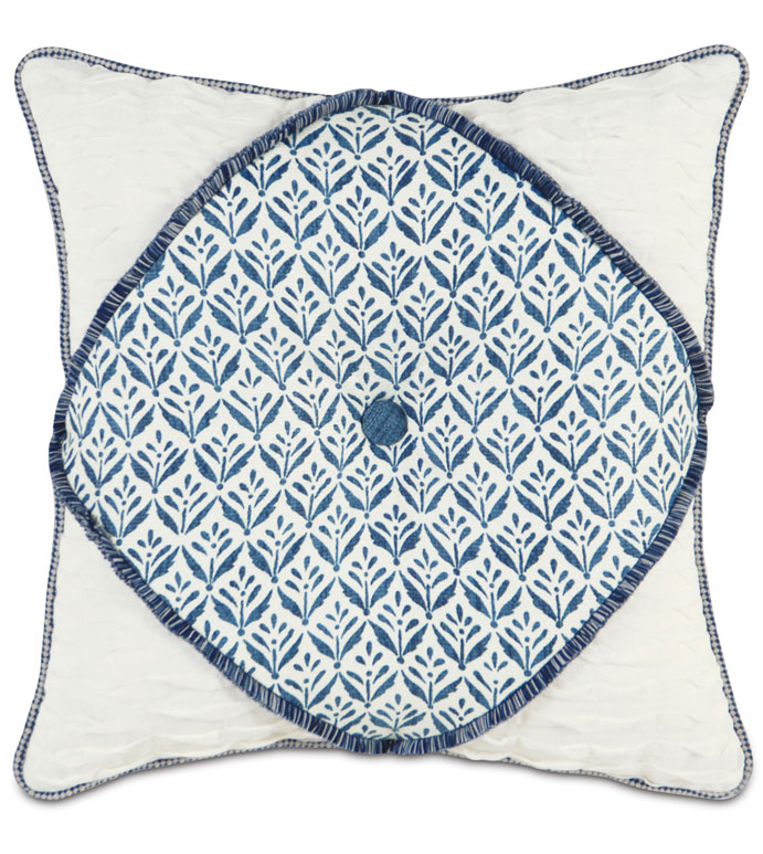 KARI IRIS DIAMONT TUFTED - WHITE AND BLUE TROPICAL PILLOW,BLUE AND WHITE,BLUE AND IVORY,BUTTON TUFTED PILLOW,CENTER TUFTED,DEEP TUFTED PILLOW,BRUSH FRINGE,LINEN PILLOW,CONTEMPORARY,TROPICAL,COASTAL,BEACH