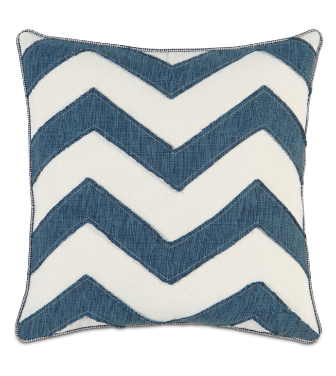 GARRISON STORM CHEVRON - BLUE AND WHITE PILLOW,BLUE CHEVRON PILLOW,FRAYED EDGE,BLUE AND WHITE STRIPED,WHITE AND BLUE,CASUAL TROPICAL PILLOW,CONTEMPORARY,COASTAL,BEACH STYLE PILLOW,CABANA PILLOW,TEXTURED