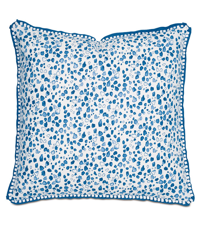 Khaleo Blue WITH loop trim and flange - PILLOW,BLUE PILLOW,TOSS CUSHION,THROW PILLOW,RAIN DROP PILLOW,CUSTOMIZABLE PILLOW,DOUBLE SIDED PILLOW,CELERIE KEMBLE PILLOW,FEATHER PILLOW,WHIMSICAL PILLOW,ACCENT PILLOW,BED PILLOW
