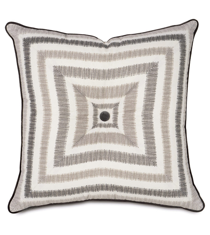 Theo Truffle mitered & tufted - PILLOW,TOSS CUSHION,THROW PILLOW,SQUARE PILLOW,CONTEMPORARY PILLOW,CUSTOMIZABLE PILLOW,DOUBLE SIDED PILLOW,WHIMSICAL PILLOW,CELERIE KEMBLE PILLOW,GRAY PILLOW,GEOMETRIC PILLOW