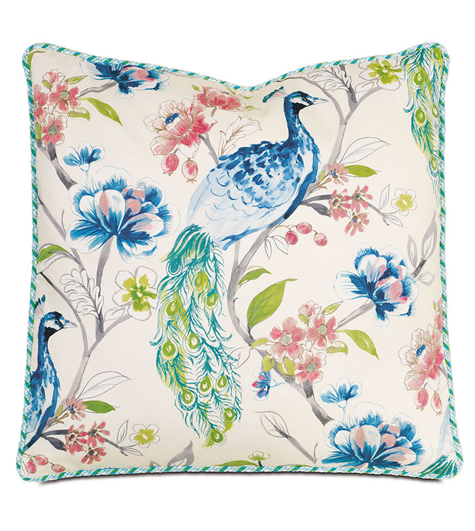 Poe Caribbean WITH cord - PILLOW,TROPICAL PILLOW,BIRD PILLOW,PEACOCK PILLOW,TOSS CUSHION,THROW PILLOW,SQUARE PILLOW,WHIMSICAL PILLOW,CELERIE KEMBLE,BED PILLOW,ACCENT PILLOW,DECORATIVE PILLOW,LUXURY PILLOW