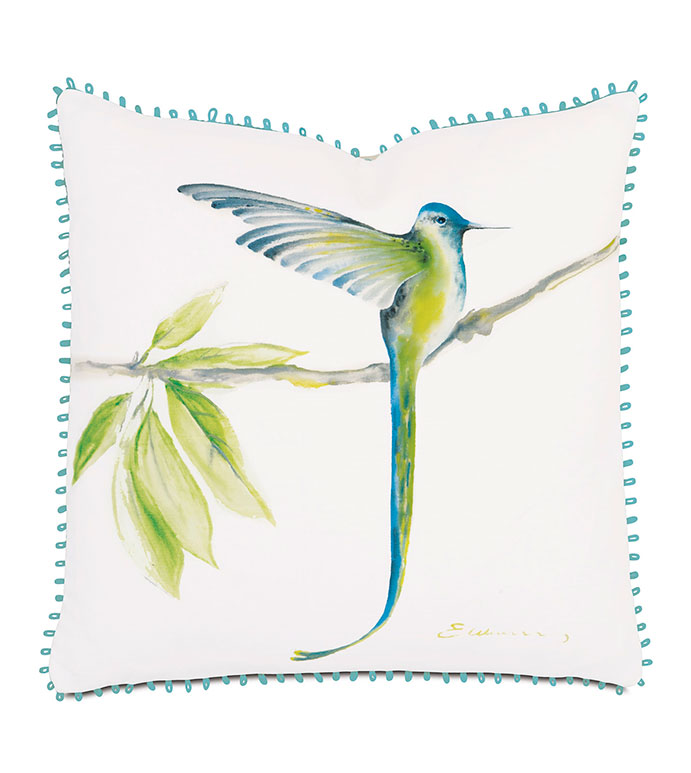 Long-tailed hummingbird hand-painted - pillow,bird pillow,tropical pillow,hand painted pillow,whimsical pillow,femine pillow,square pillow,throw pillow,accent pillow,decorative pillow,customizable pillow