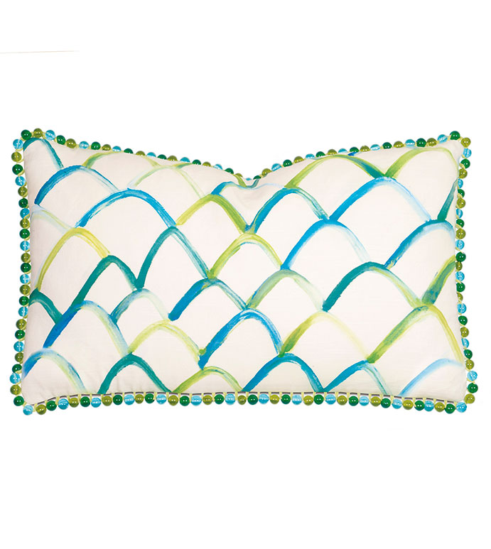 Blue/green scallop design hand-painted