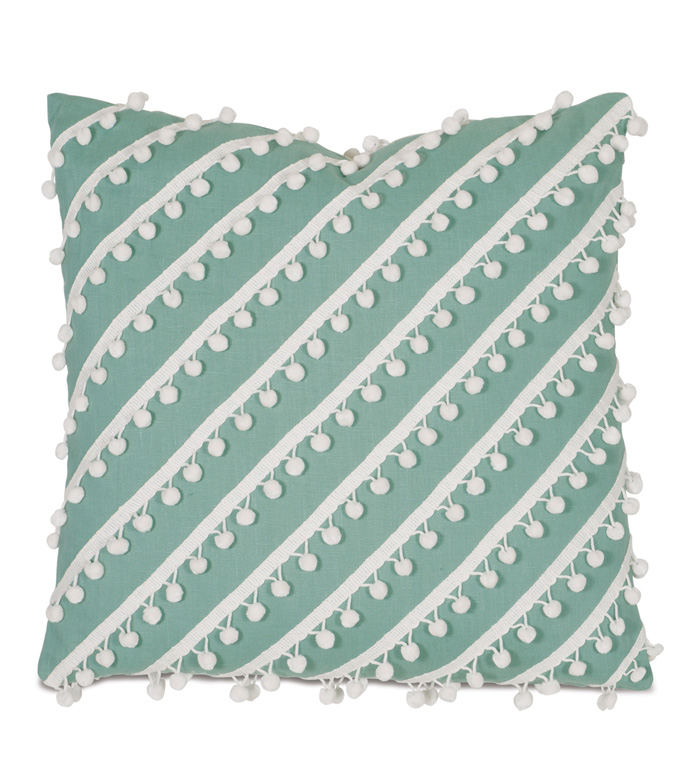 Breeze Aqua WITH ball trim - PILLOW,WHIMSICAL PILLOW,AQUA PILLOW,FRINGE PILLOW,TOSS CUSHION,CUSTOMIZABLE PILLOW,DOUBLE SIDED PILLOW,FEMININE PILLOW,CELERIE KEMBLE PILLOW,DECORATIVE PILLOW,ACCENT PILLOW