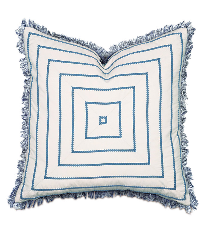 Rhine Colonial Mitered - PILLOW,TOSS CUSHION,THROW PILLOW,SQUARE PILLOW,BLUE PILLOW,CUSTOMIZABLE PILLOW,DOUBLE SIDED PILLOW,WHIMSICAL PILLOW,CELERIE KEMBLE PILLOW,ZIPPER CLOSURE PILLOW,EYELASH FRINGE