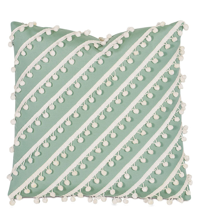 Sail Celadon WITH ball trim - PILLOW,OUTDOOR PILLOW,CELADON PILLOW,FRINGE PILLOW,TOSS CUSHION,THROW PILLOW,MILDEW PROOF PILLOW,CUSTOMIZABLE PILLOW,DOUBLE SIDED PILLOW,WHIMSICAL PILLOW,CELERIE KEMBLE PILLOW