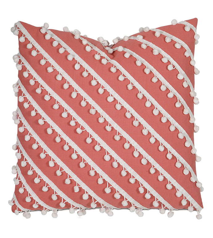 Oasis Coral WITH ball trim - pillow,outdoor pillow,coral pillow,fringe pillow,toss cushion,throw pillow,mildew proof pillow,customizable pillow,double sided pillow,whimsical pillow,celerie kemble pillow