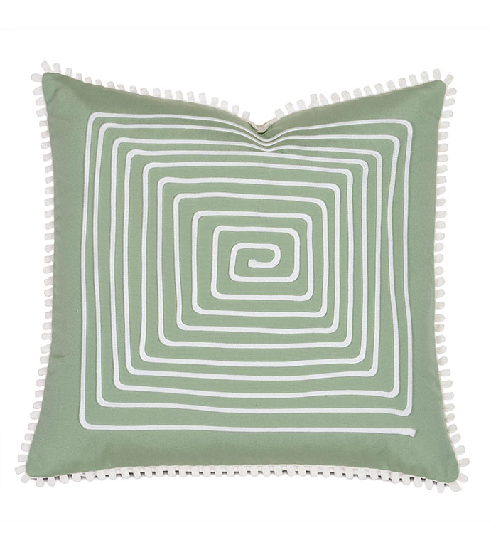 Sail Celadon With Loop Trim - PILLOW,OUTDOOR PILLOW,CELADON PILLOW,LOOP TRIM PILLOW,TOSS CUSHION,THROW PILLOW,MILDEW PROOF PILLOW,CUSTOMIZABLE PILLOW,DOUBLE SIDED PILLOW,WHIMSICAL PILLOW,CELERIE KEMBLE PILLOW